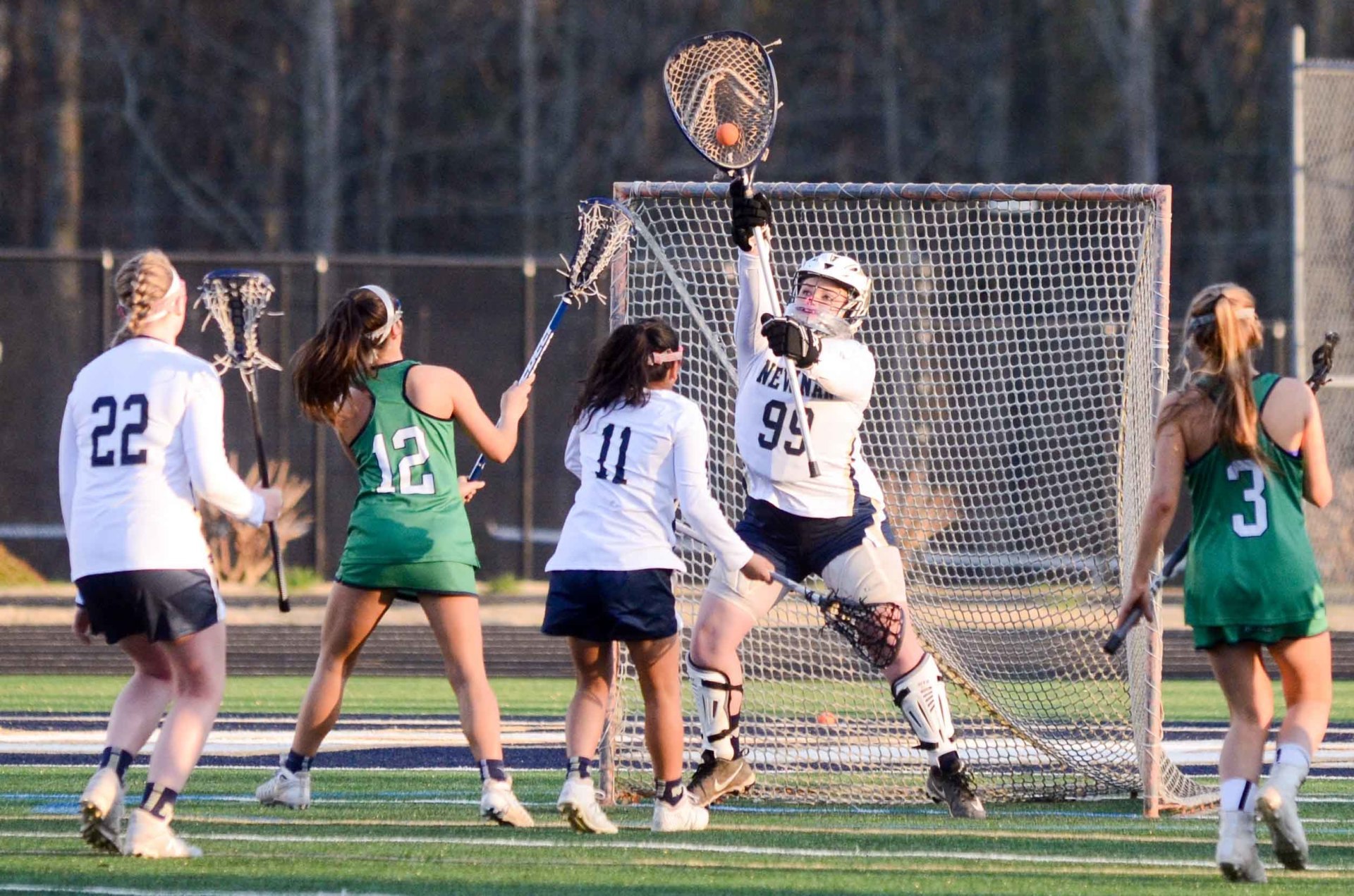 Newnan goalie Lani Roth makes one of her 10 saves in the first half against Harrison.